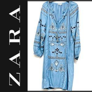 Zara boho light blue denim embroidered dress